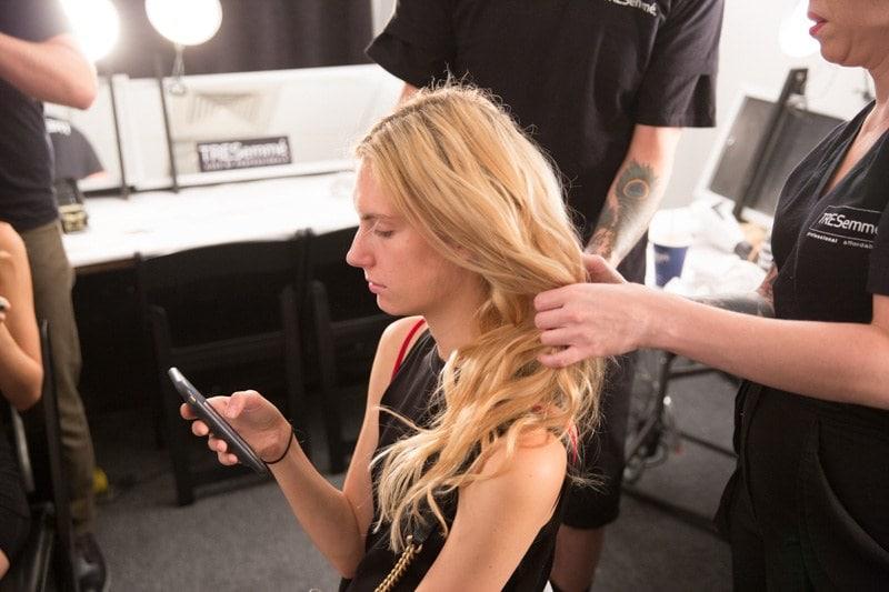 hair salon wavy blonde curls