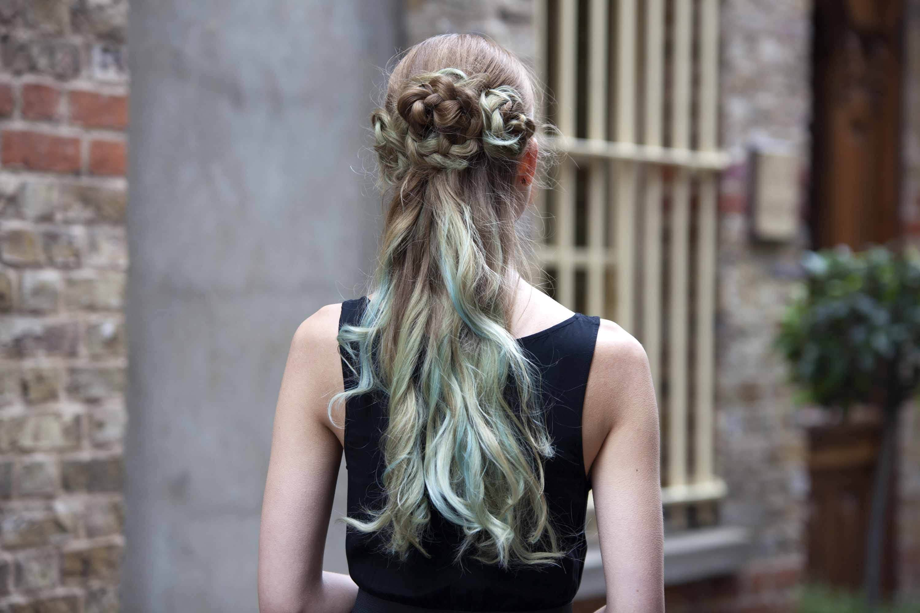 prom hairstyles blue half updo