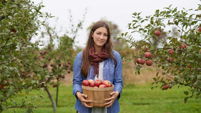 a woman with long brown hair standing in an apple garden after picking up the fruits