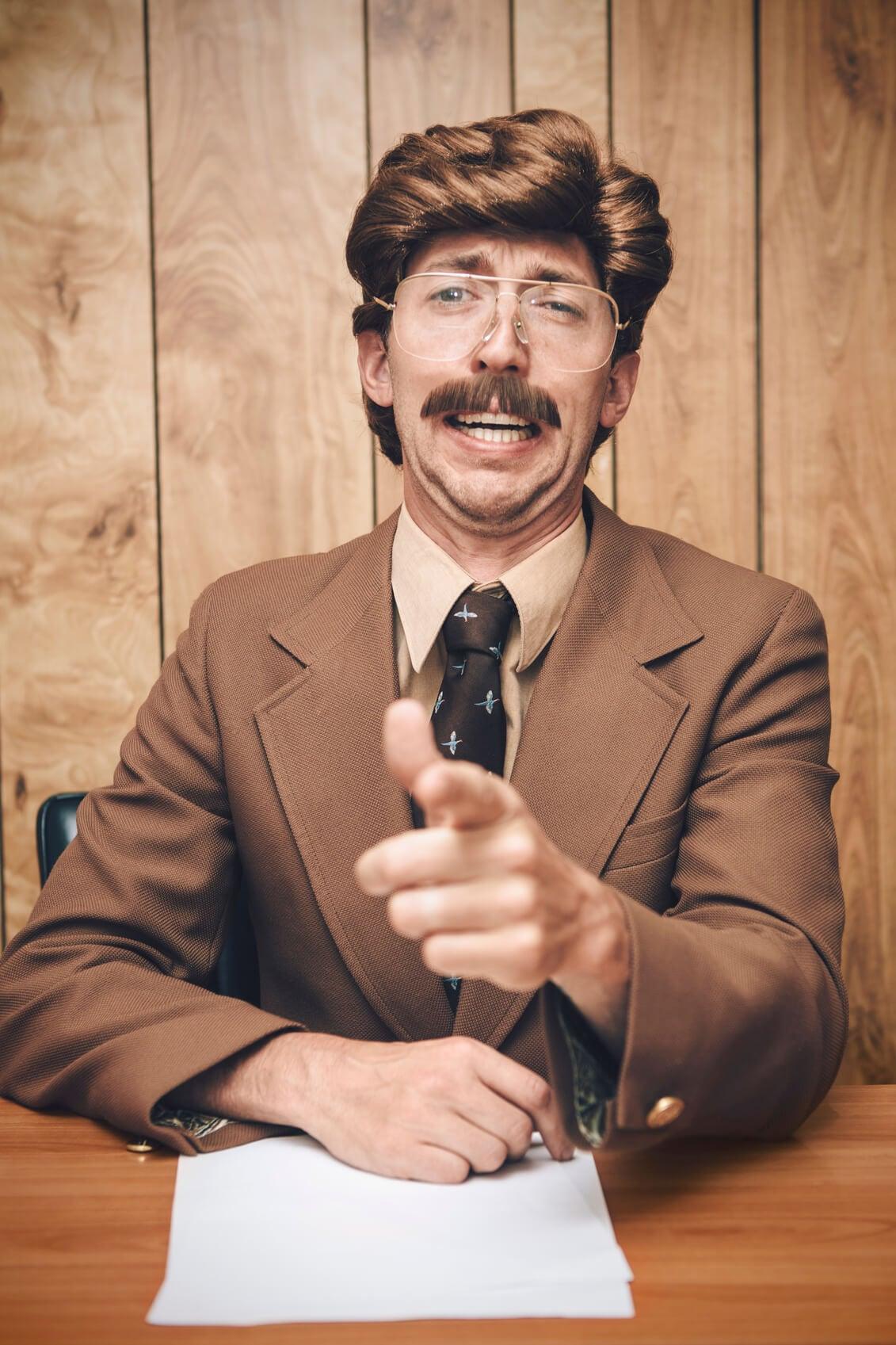 beard 70s mustache newsanchor