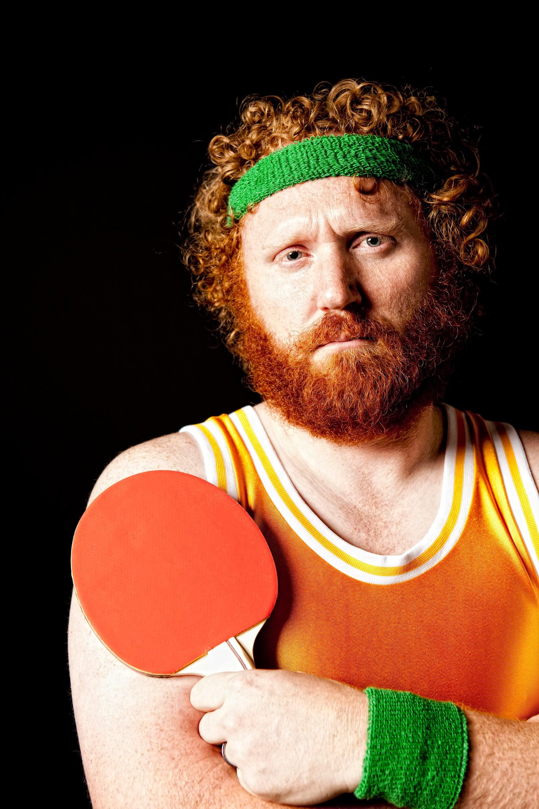 full beard pingpong player