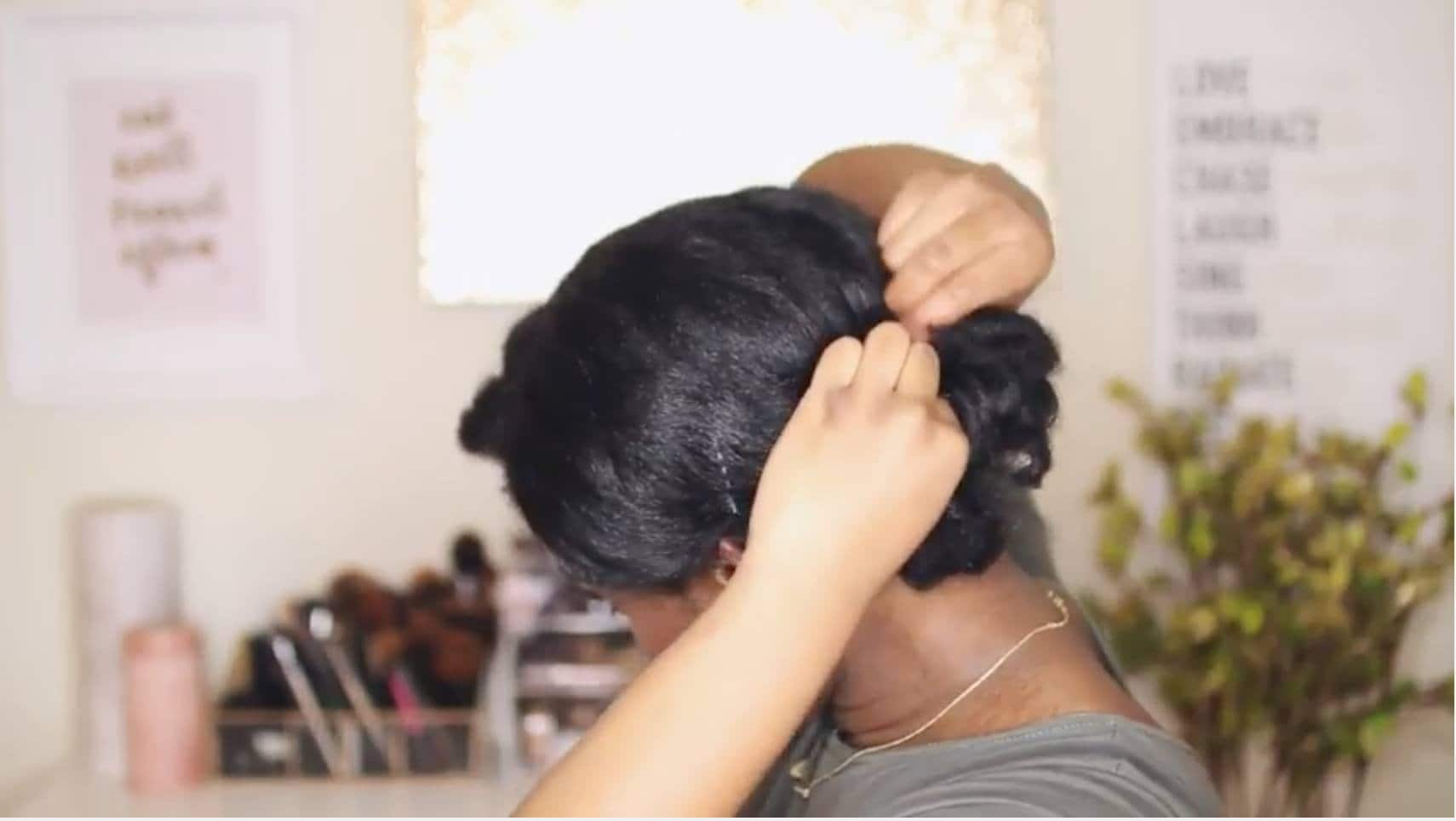 how to curl short hair chignon