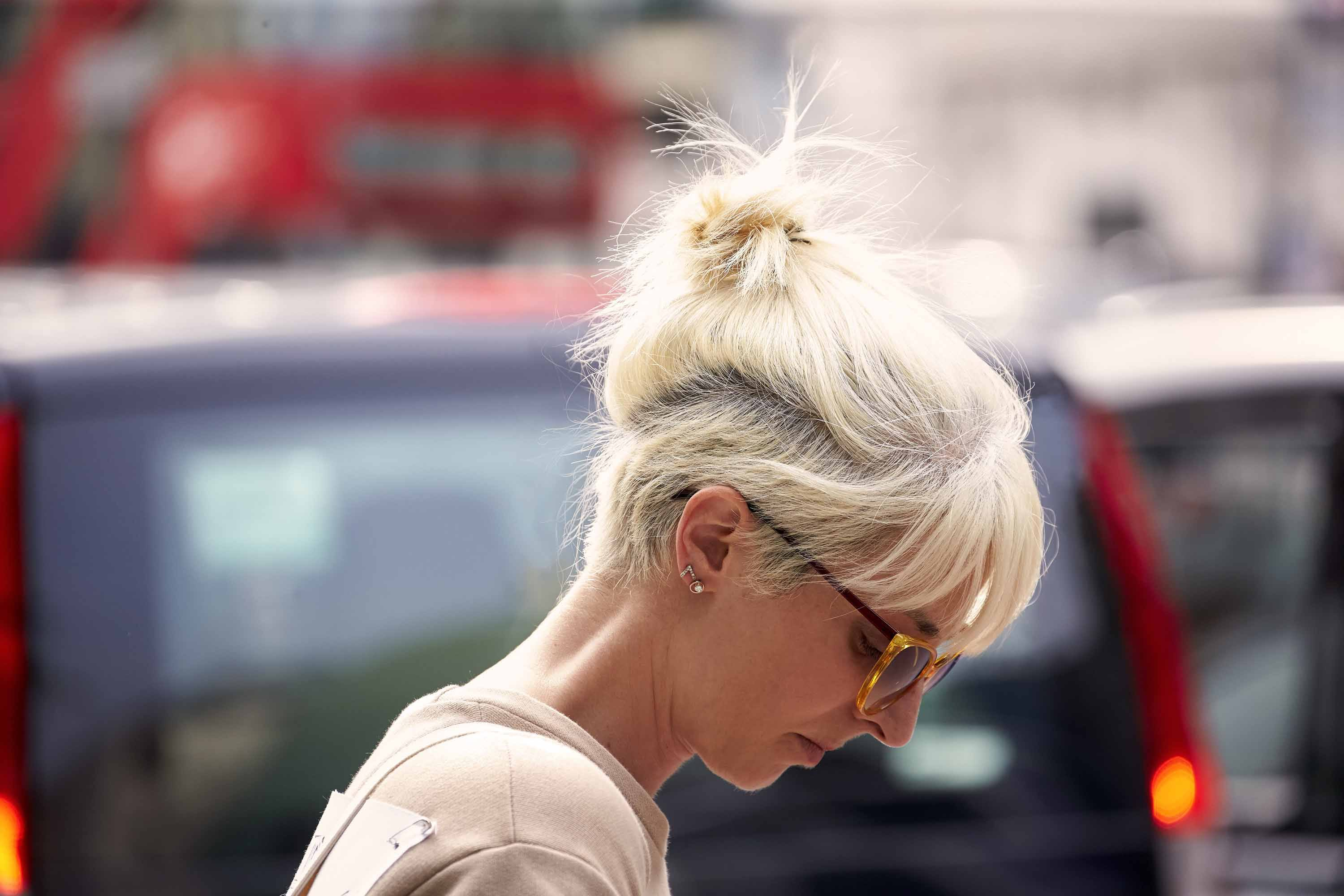 white blonde hair pony undercut