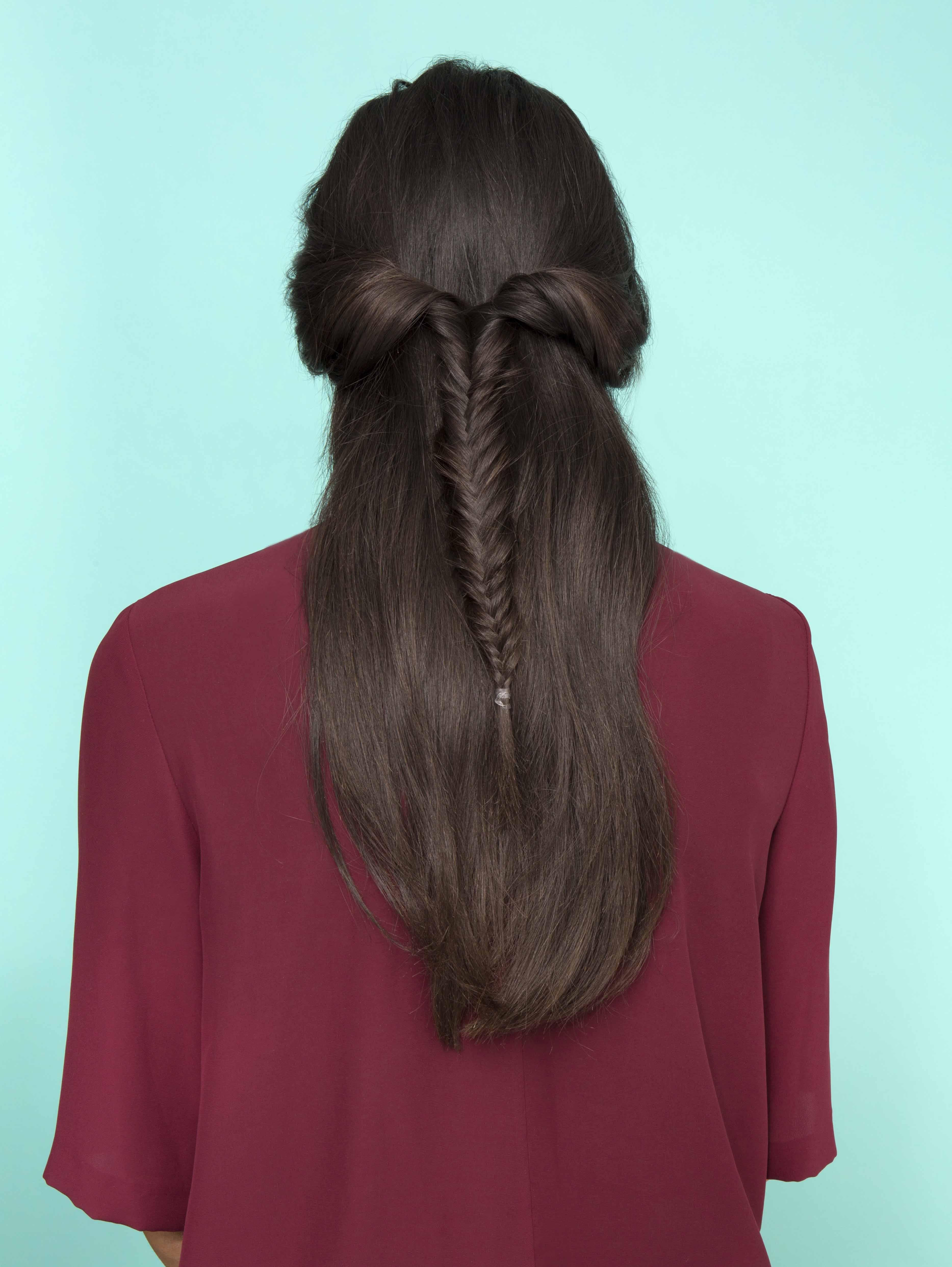 half fishtail braid twisted updo