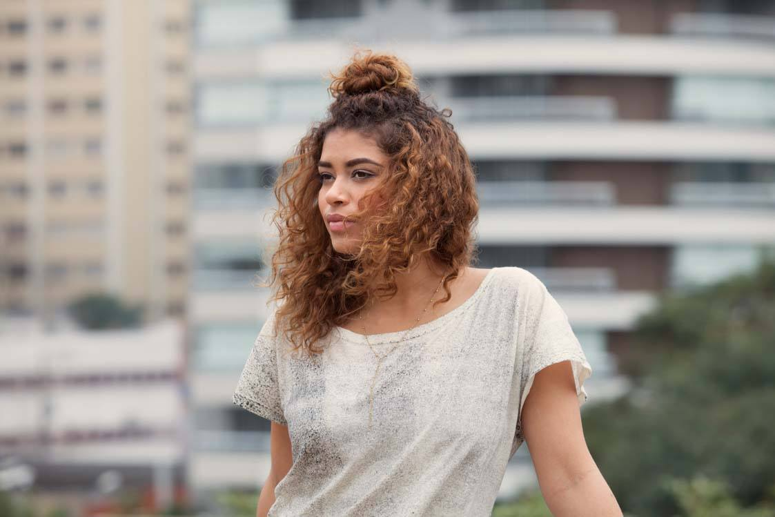 hairstyles for thick curly hair top knot