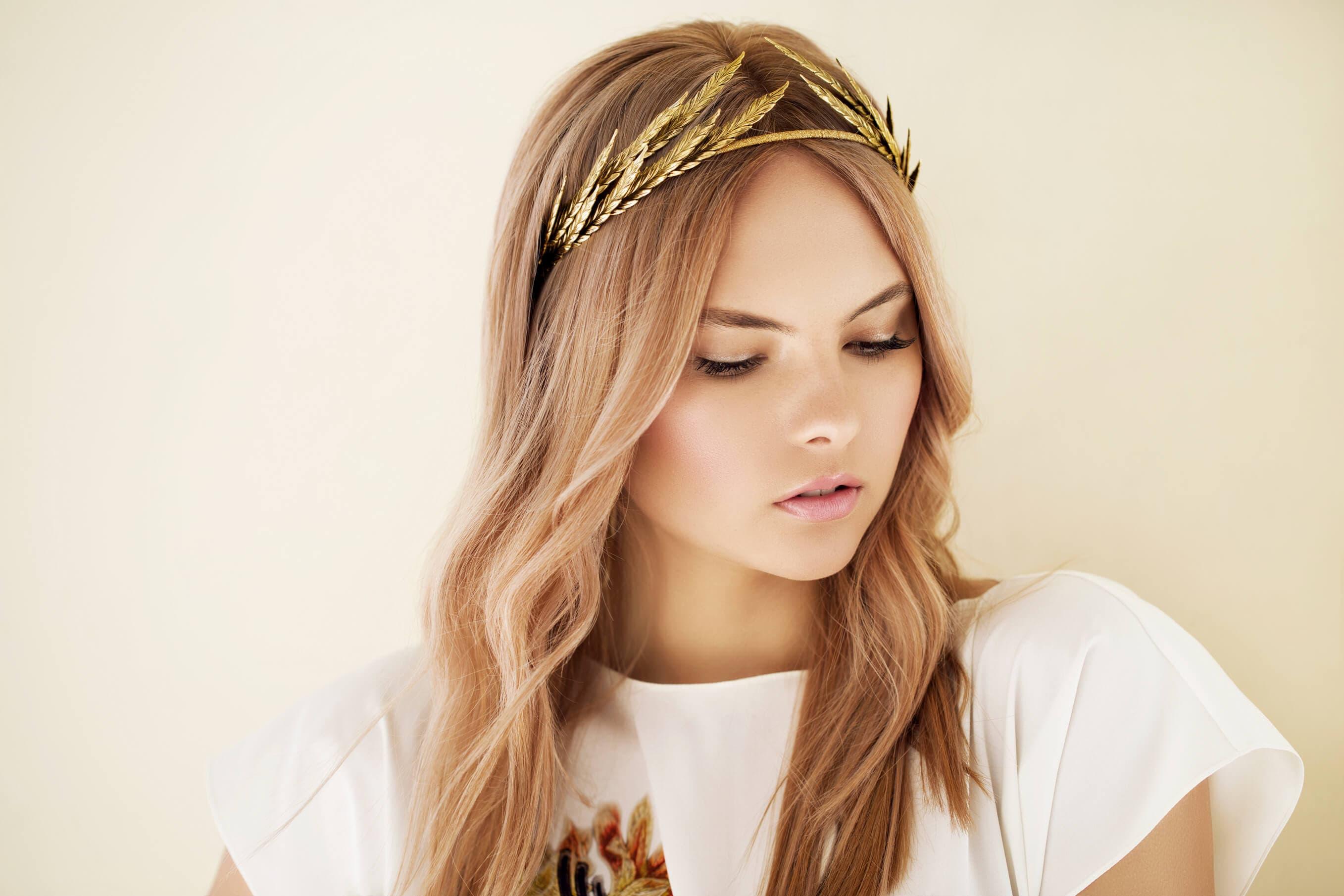 headband hairstyles gold leaf ivy