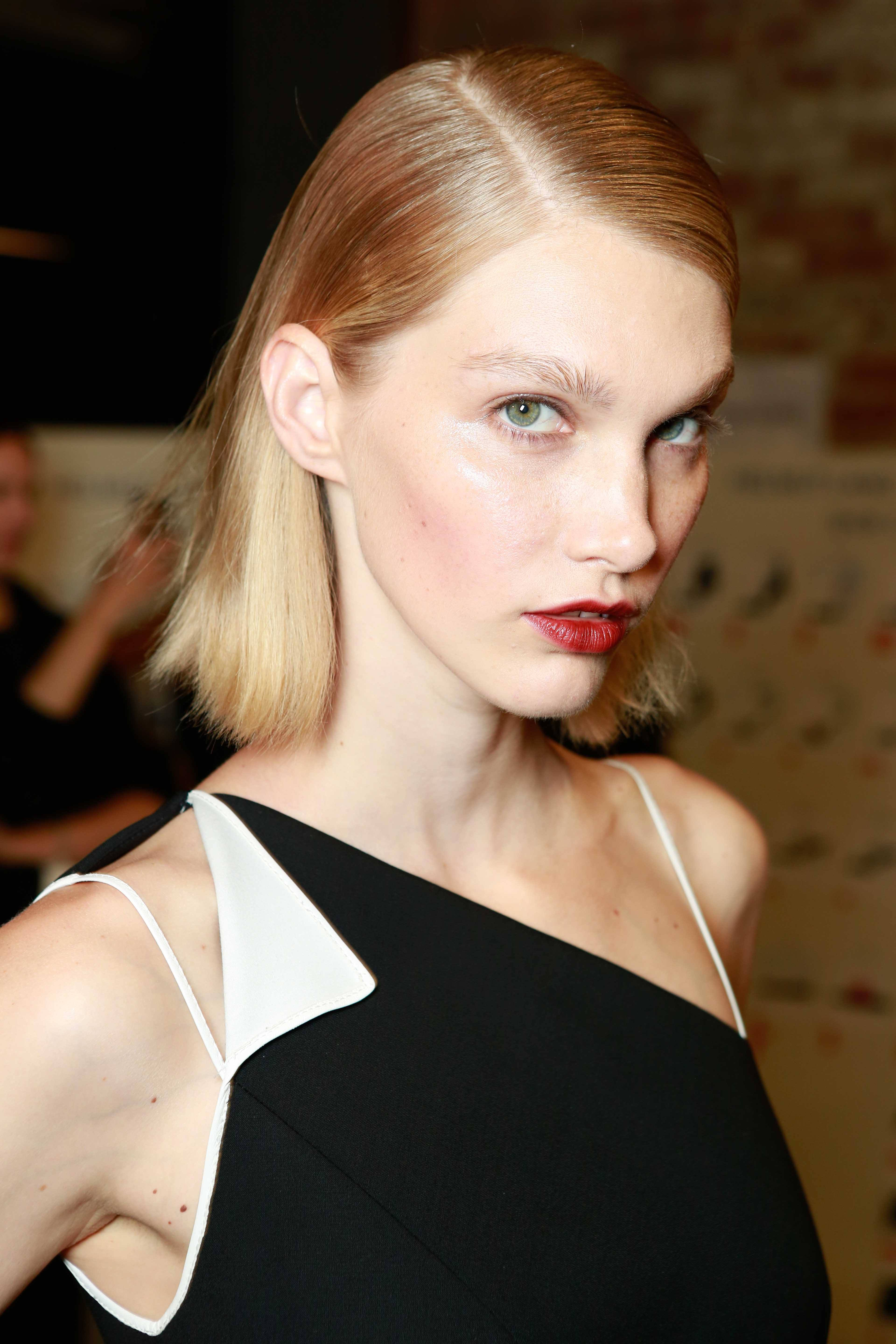 Straight hairstyles for square faces slicked bob