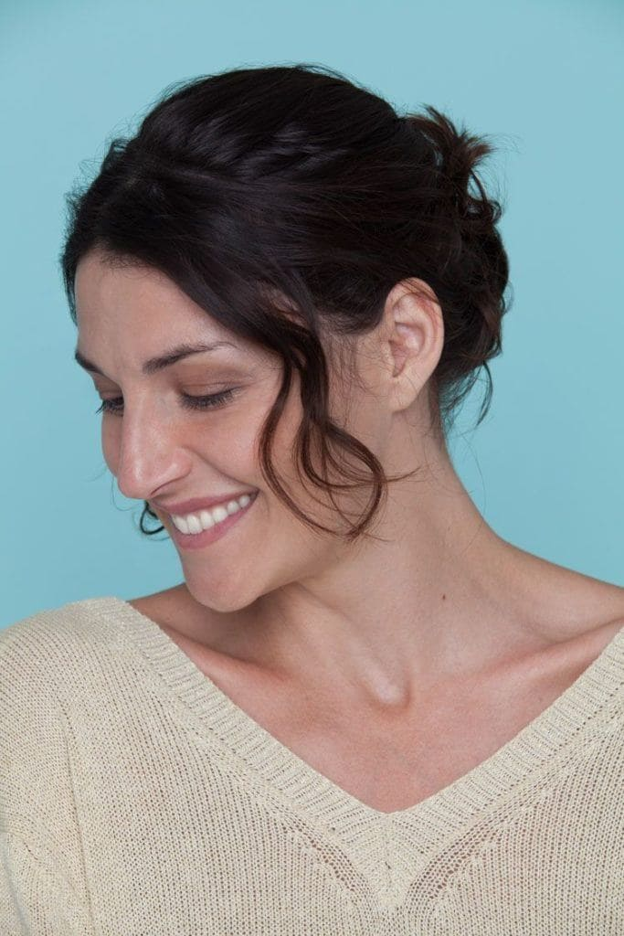 woman wearing bob updo hairstyle