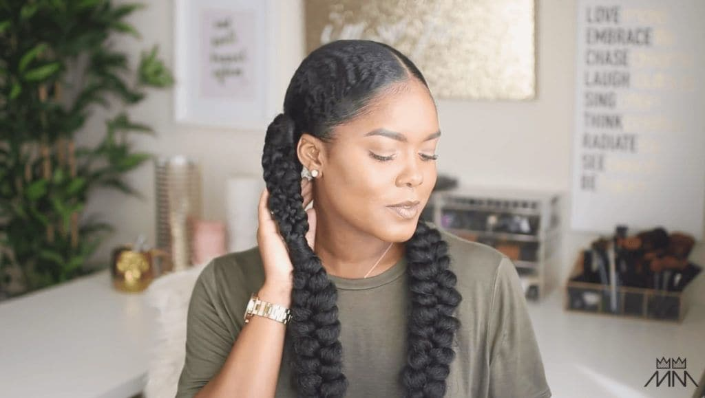 mini marley braided hairstyle nyfw-inspired