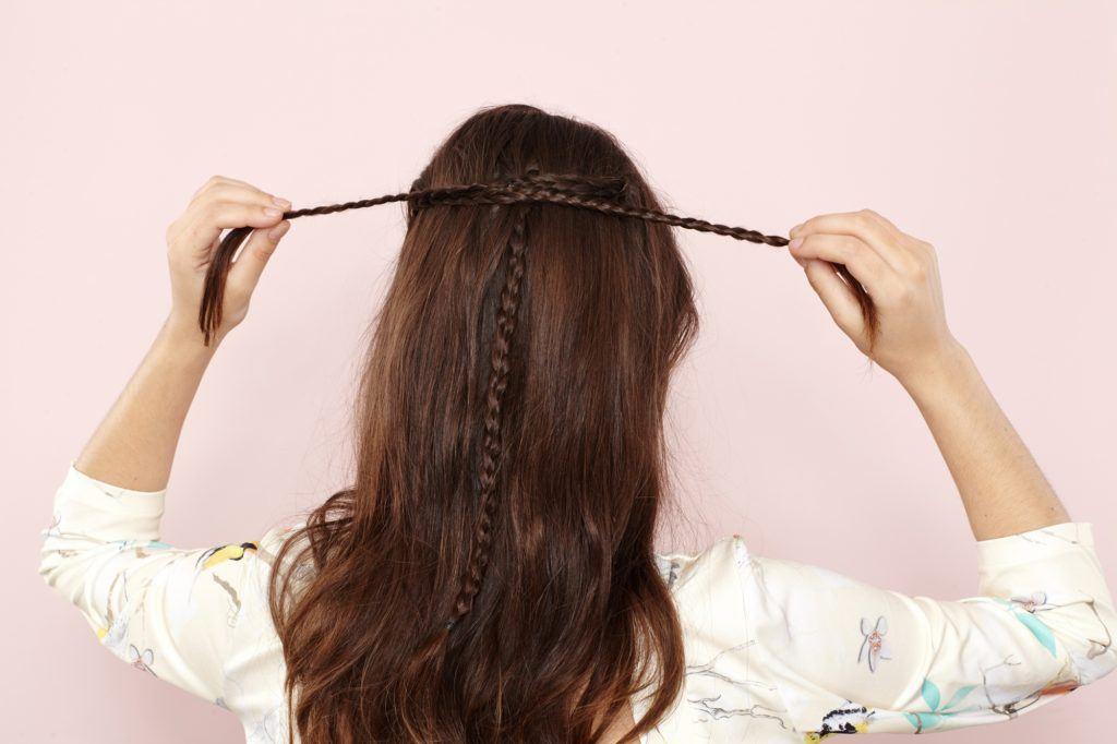 half up half down braid knot