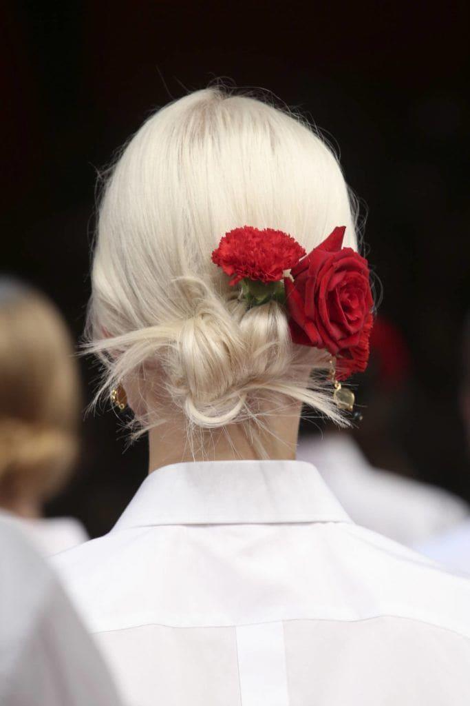 twisted chignon: floral bun