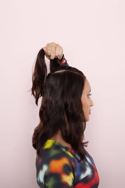 half up half down hairstyles gather into a ponytail