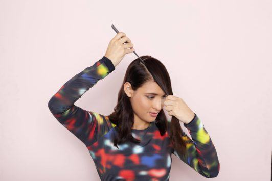 half up half down hairstyles sharp side sections