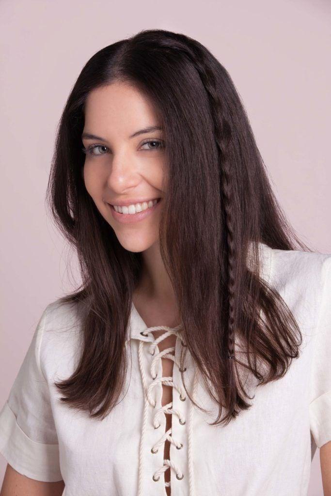 medium hairstyles braids accent plait