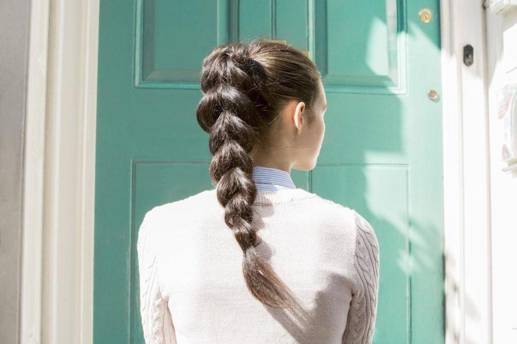 medium hairstyles braids pull through pony