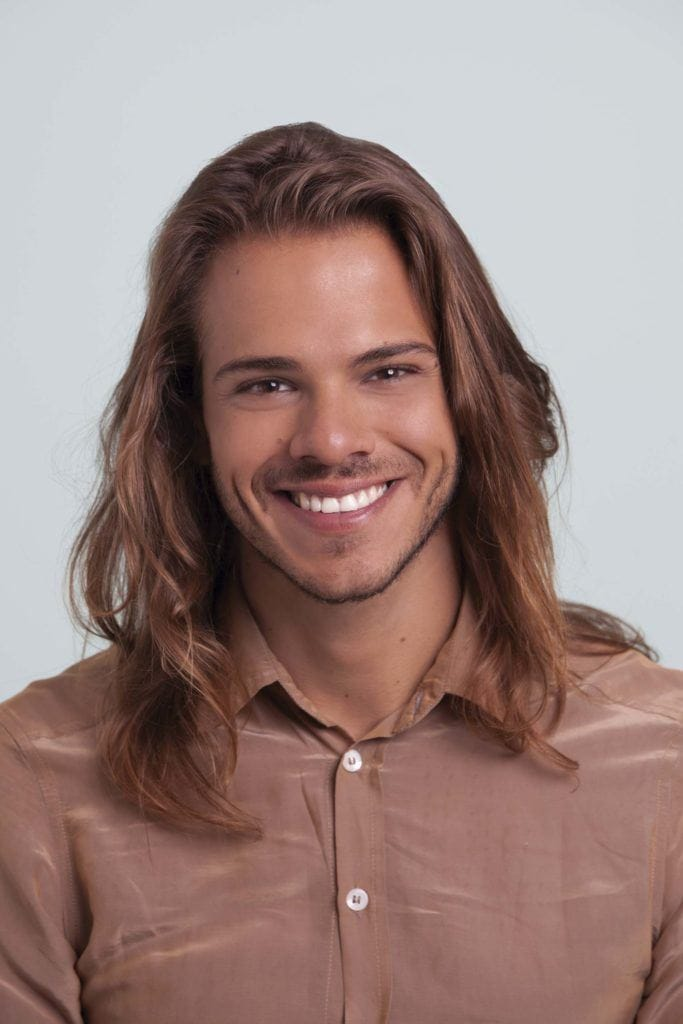 man with long straight hair