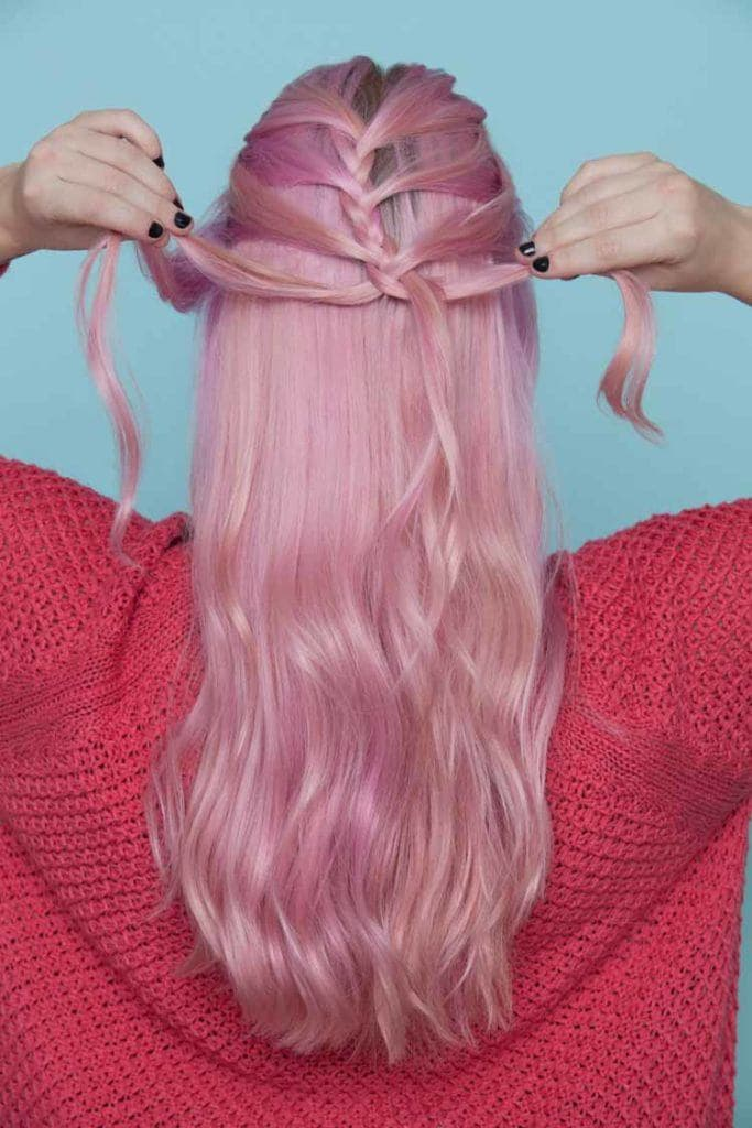 mermaid hair braid section off fringe