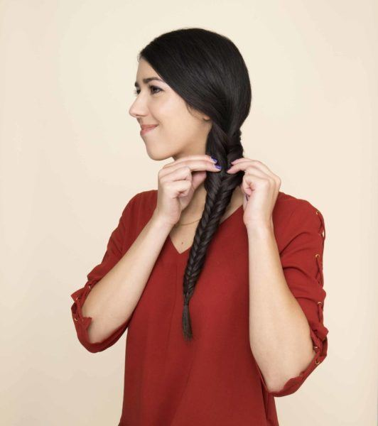 how to side fishtail braid: pancake your plait