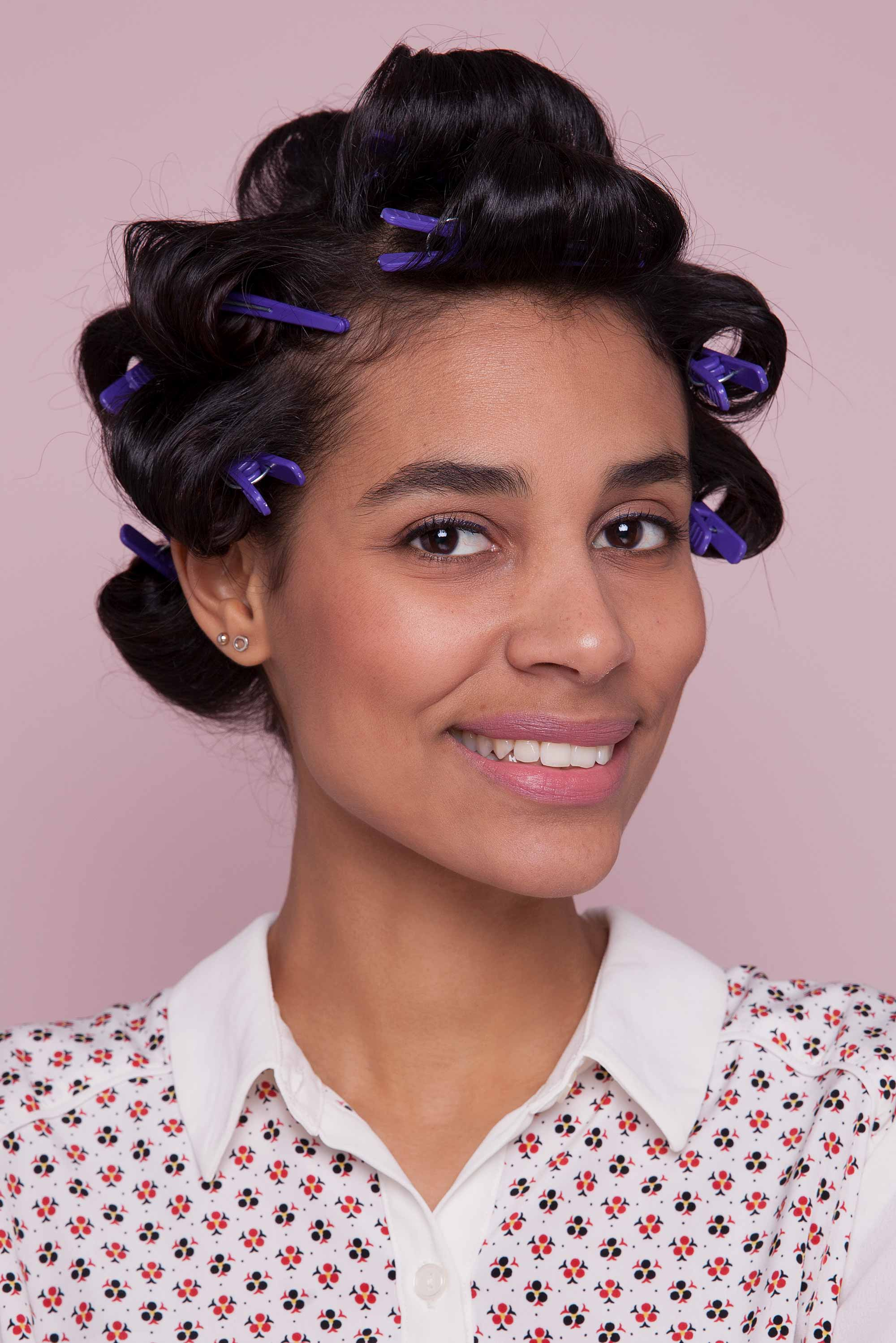 how to style curly hair with pin curls