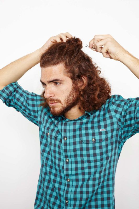 how to create the man bun secure with pins