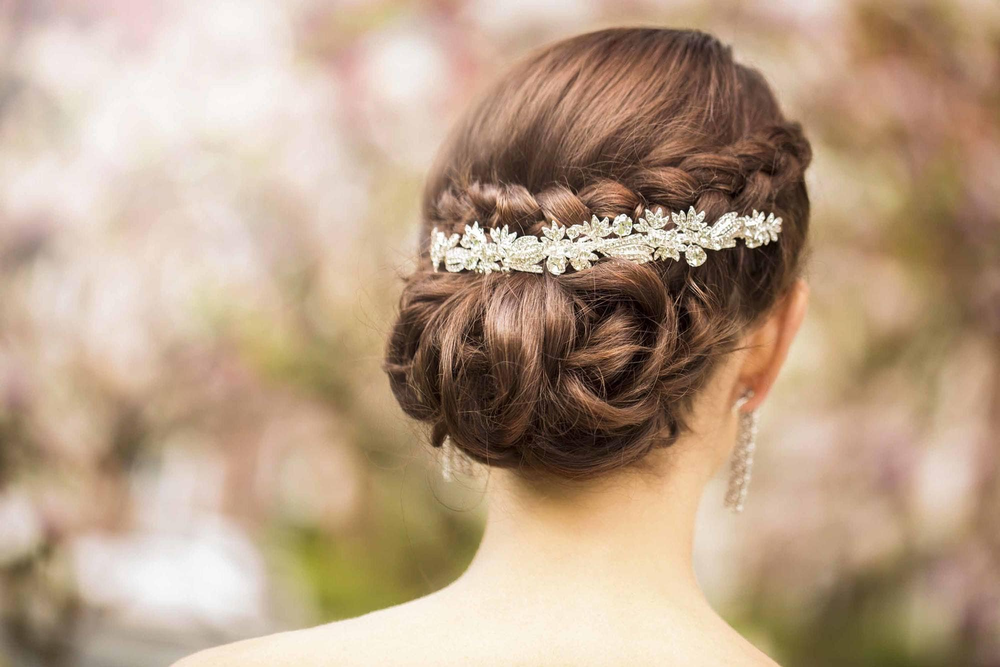 young bride with twisted chignon hairstyle