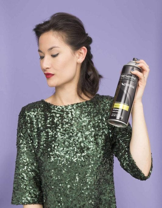 how to create a twisted half-up ponytail with hairspray