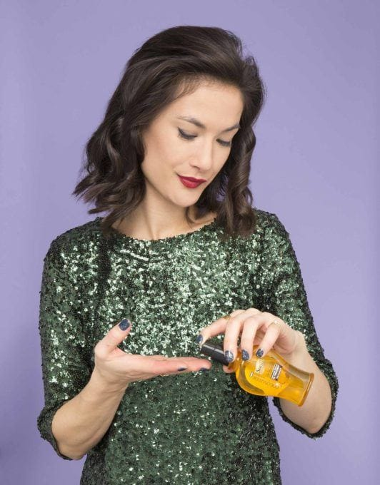 how to twisted half-up ponytail add oil