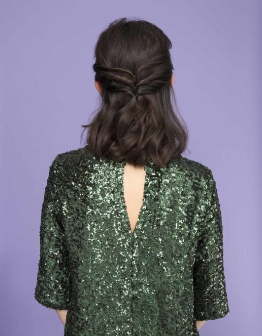 how to create a twisted half-up ponytail