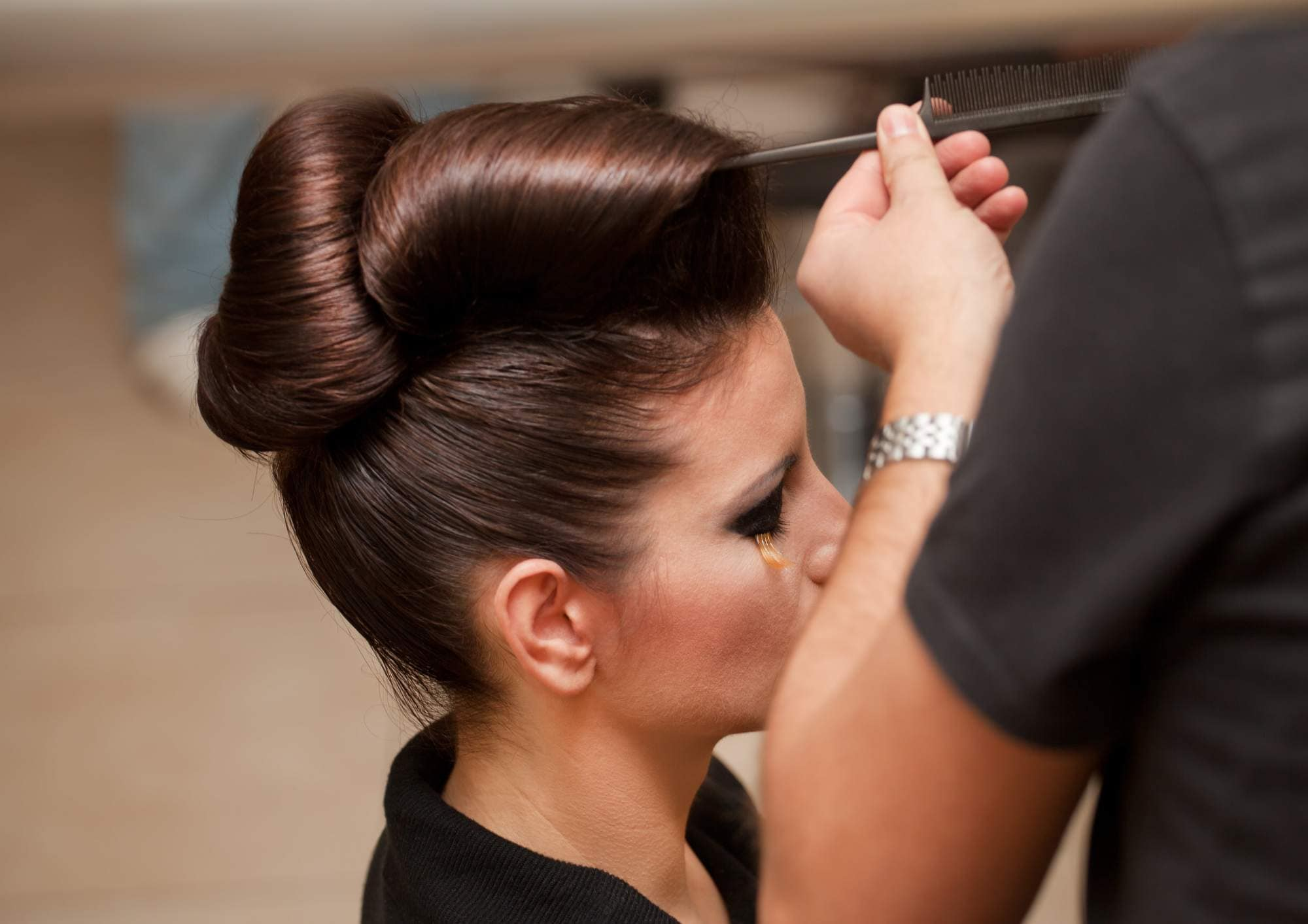 60s hairstyles rolled updo