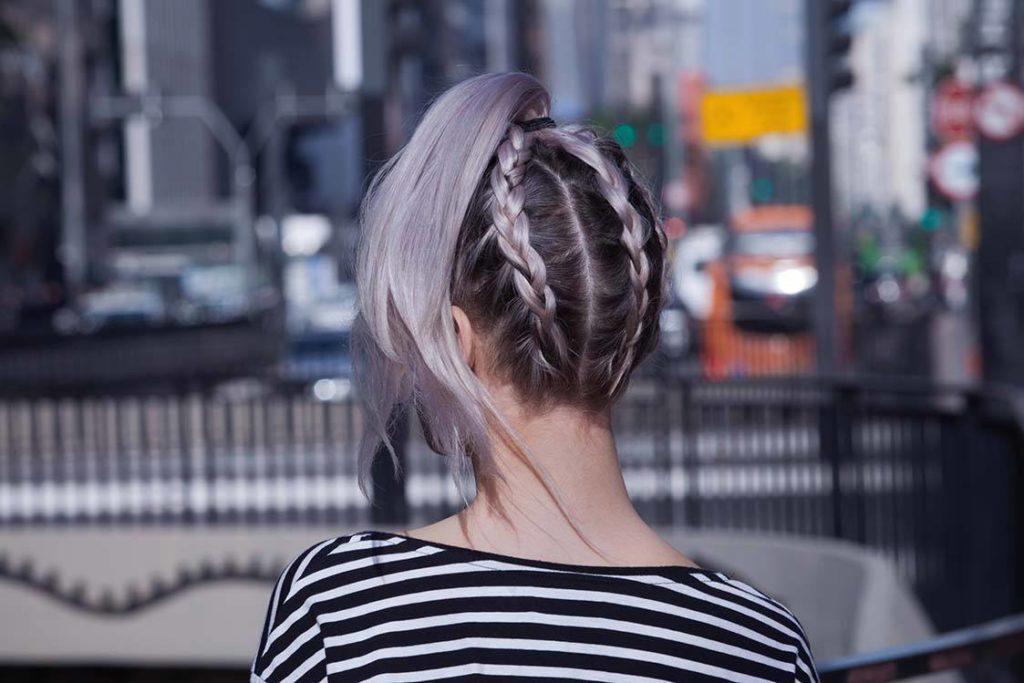 colored braids purple back braided ponytail
