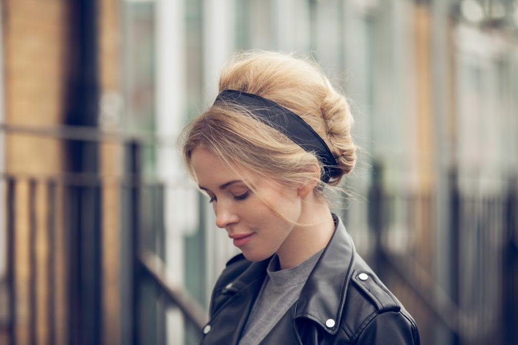 updo blonde hairstyles with headband