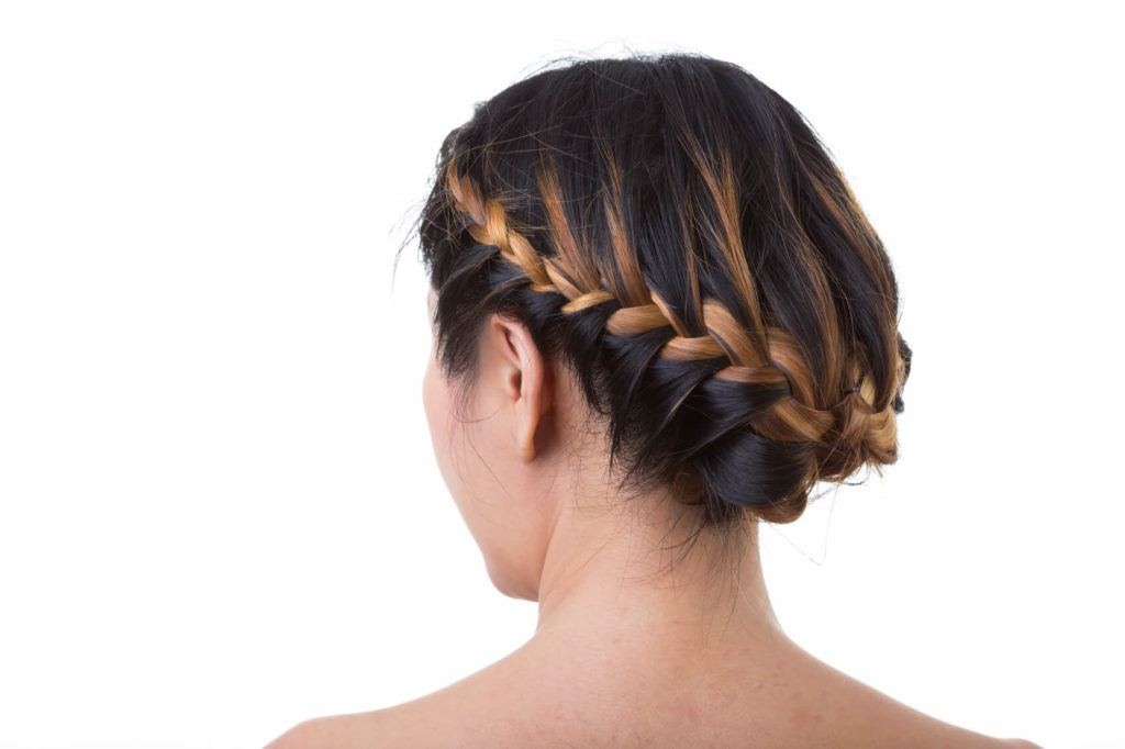 colored braids high contrast braided updo