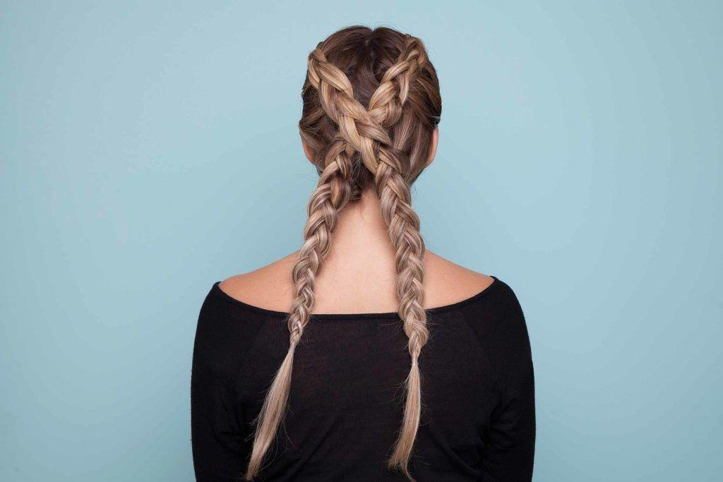 colored braids criss cross braids blonde