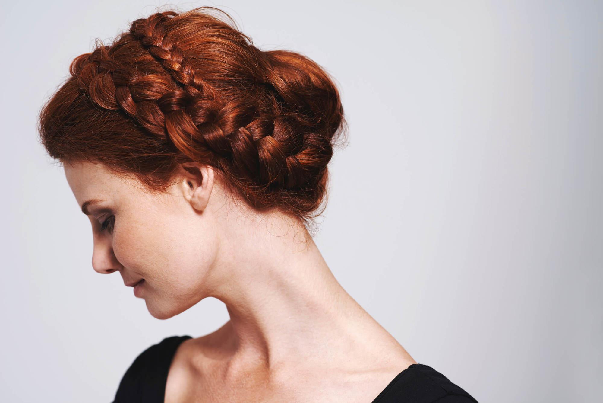 colored braids dark red hair braided updo