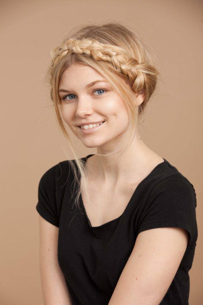 colored braids milkmaid braids blonde
