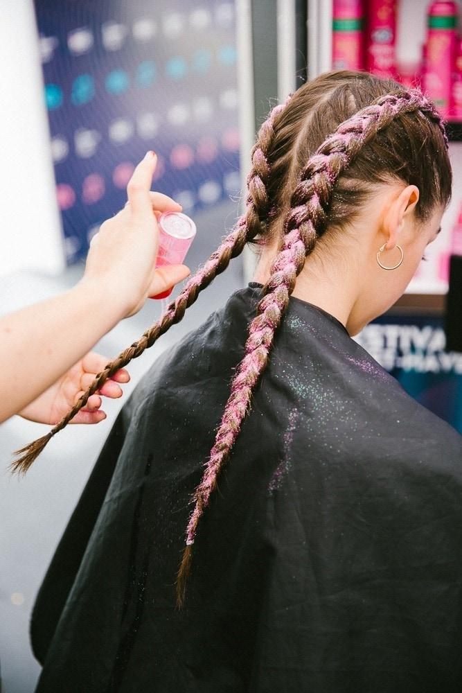 colored braids pink glitter braids