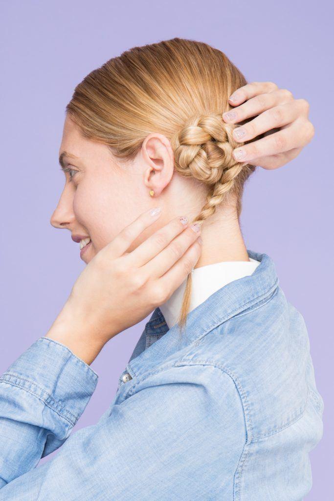 trendy space buns braided hair