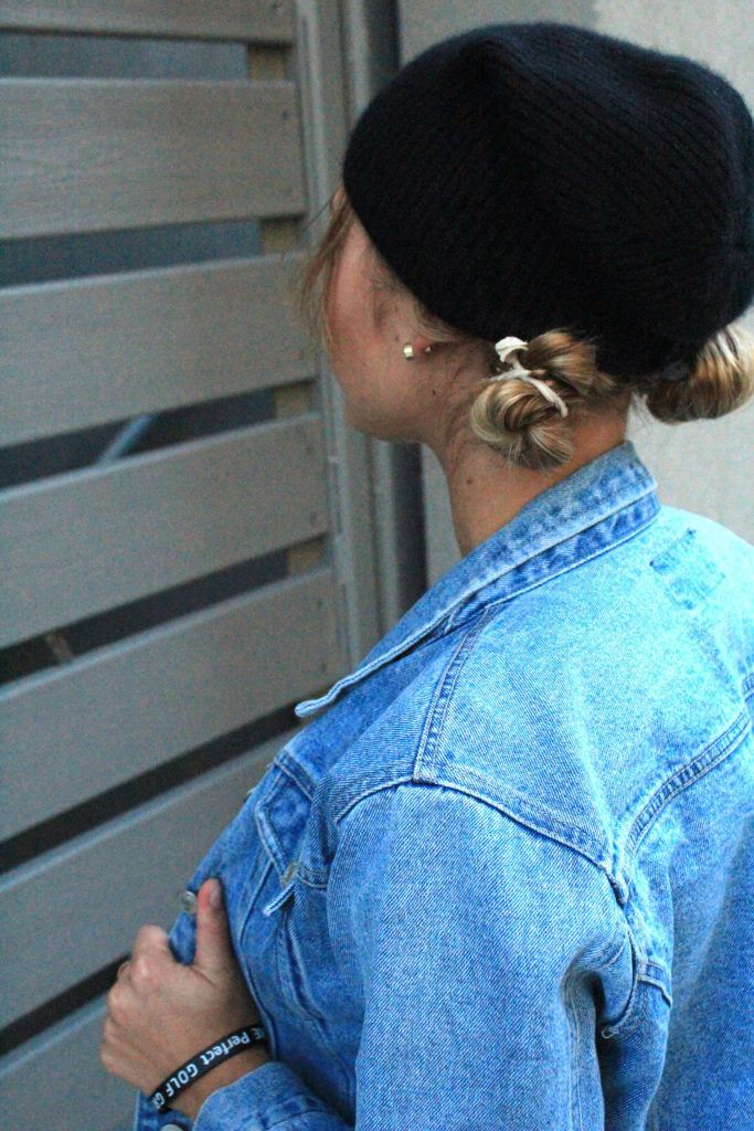 trendy space buns with a hat
