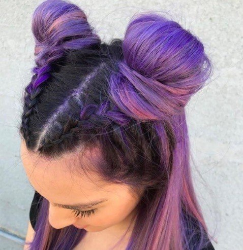 trendy space buns with purple