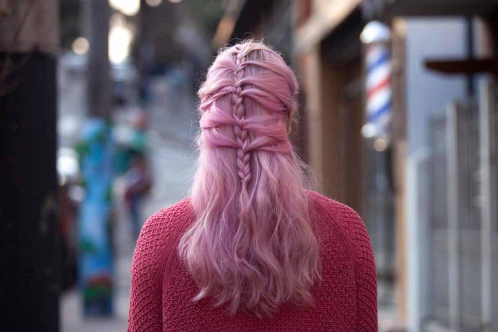 updo hairstyles for work: mermaid braid pink hair