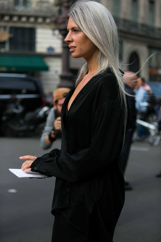 long, straight gray hair