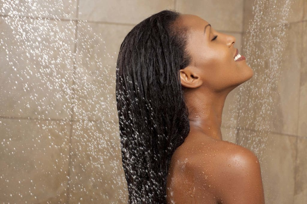rinse with cold water in the shower