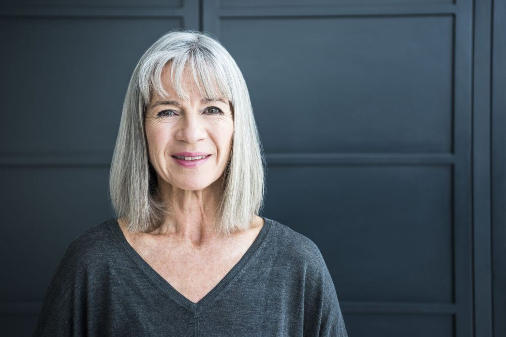 short gray hair with bangs