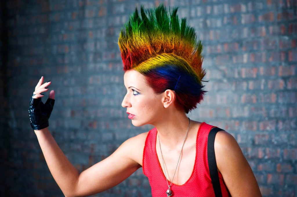 short punk hairstyles: colorful mohawk