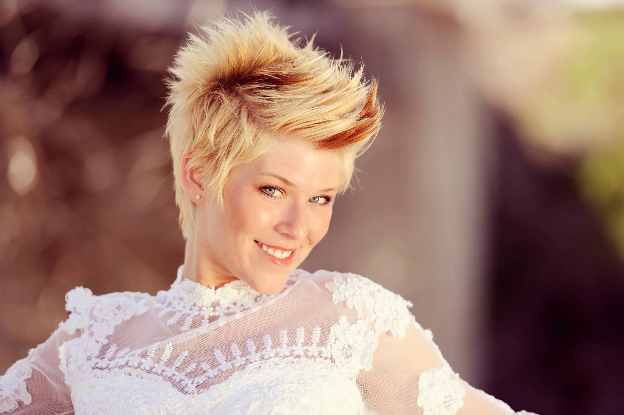 short spiky haircuts can be worn to special events, as this model shows.