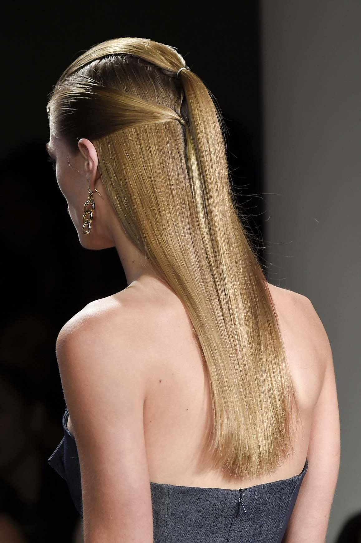 sleek hair trend with a half-up look
