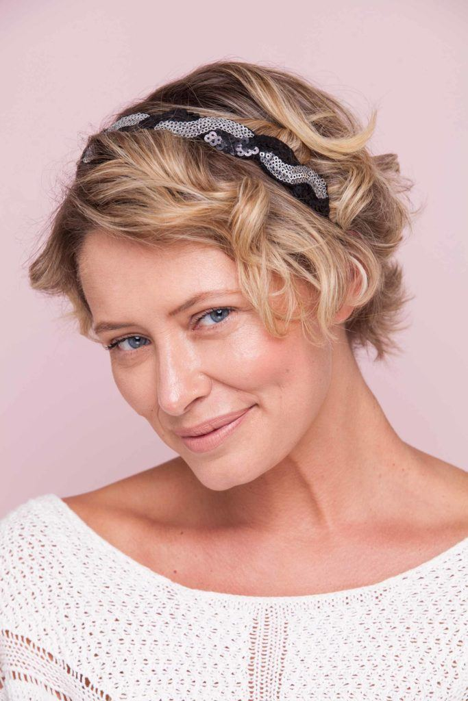 updos for short hair with a cool headband