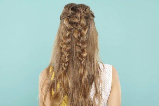 2 braids hairstyles: criss cross braid