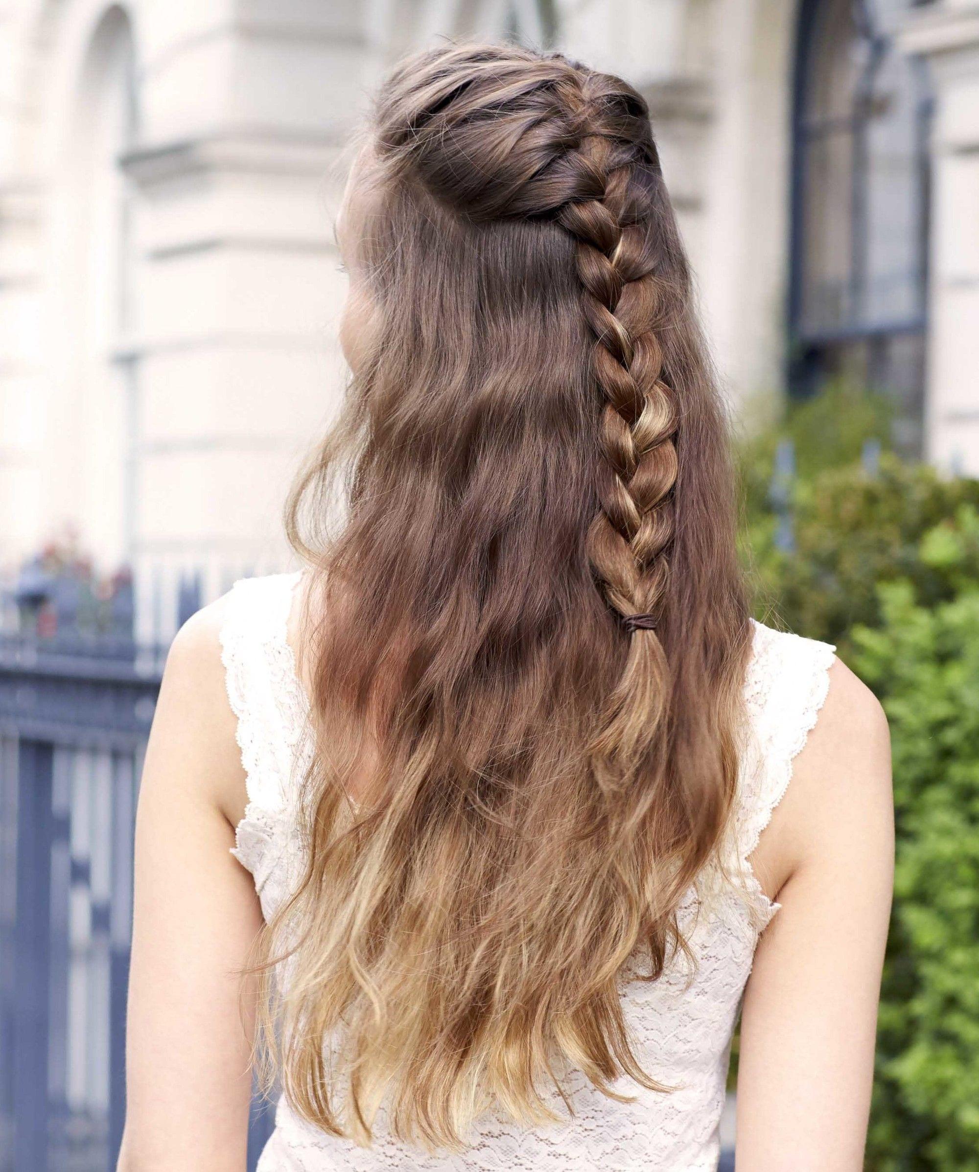 classic braid hairstyles: half-up braid