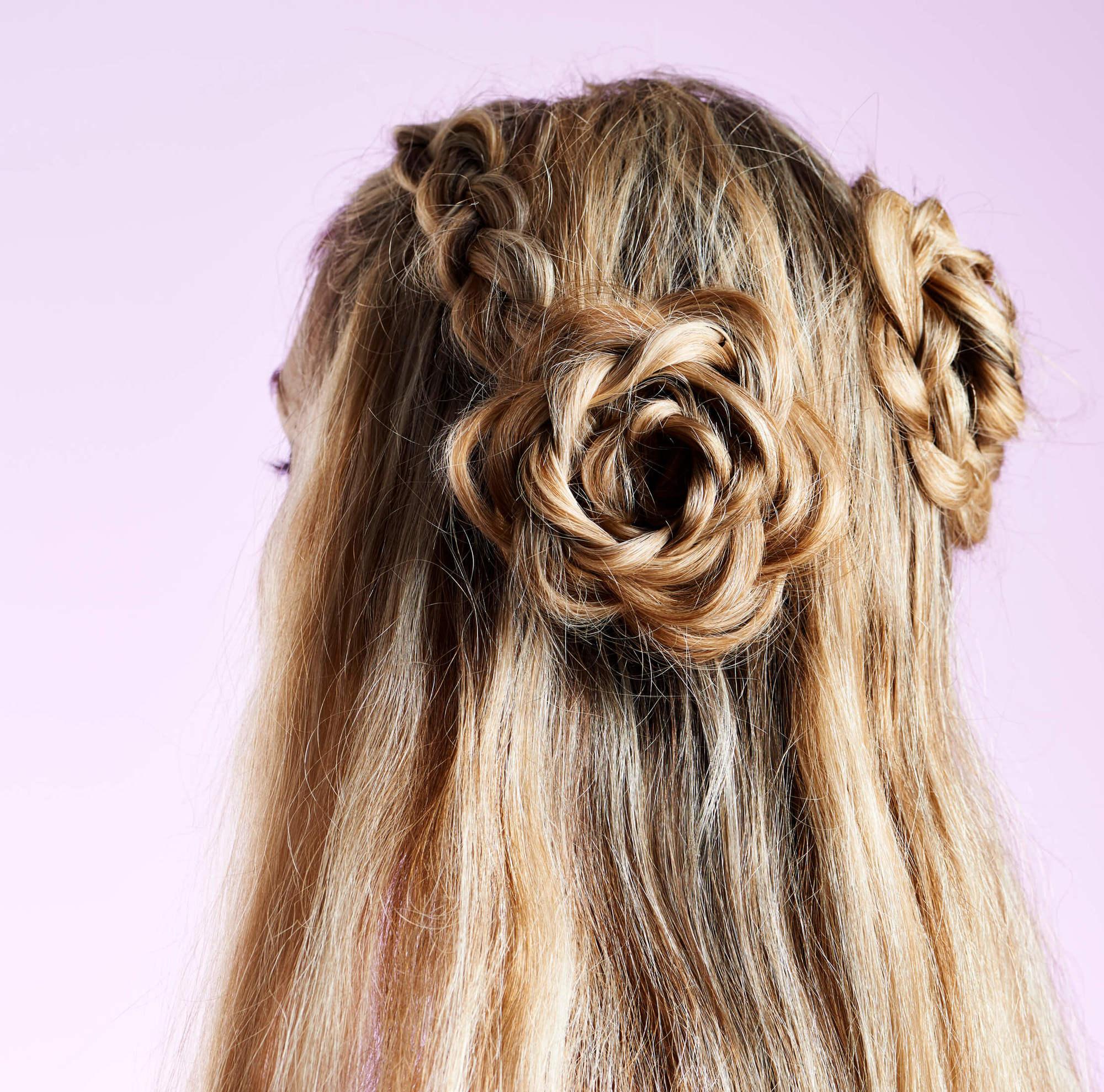 hair braiding ideas flower braid